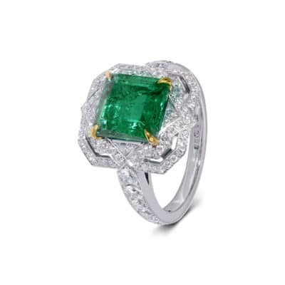 large classic emerald deco ring