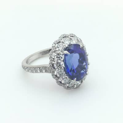 tanzanite daisy cluster ring