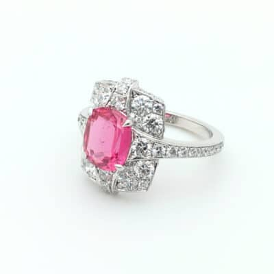 pink spinel cocktail ring