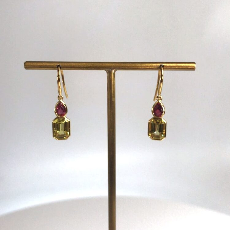 yellow sapphire and ruby drop earrings