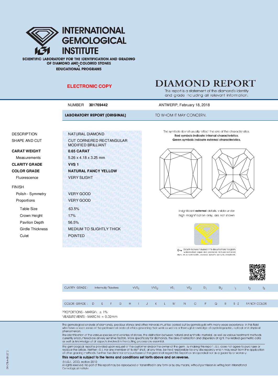 0.65ct octagon yellow diamond