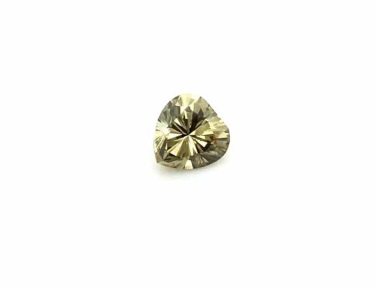 0.72ct greenish yellow heart shape diamond