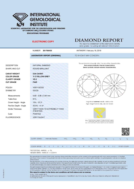 0.84ct light yellow-grey round diamond