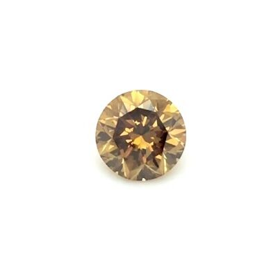 0.88ct deep brown-orange round diamond