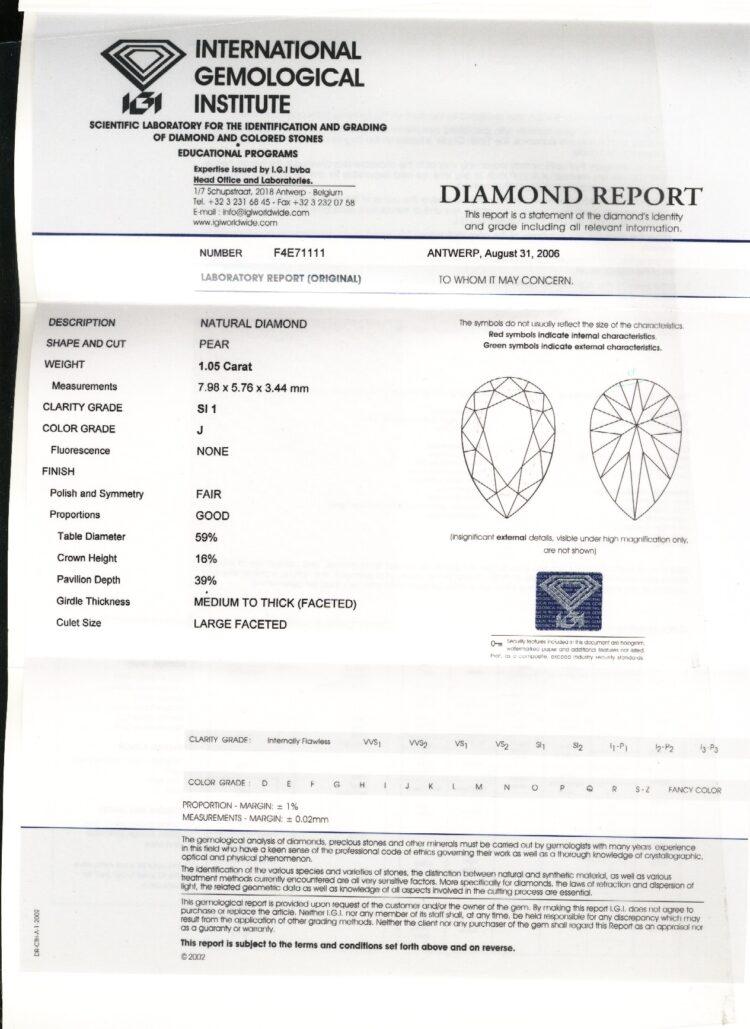 1.05ct white pear shape diamond