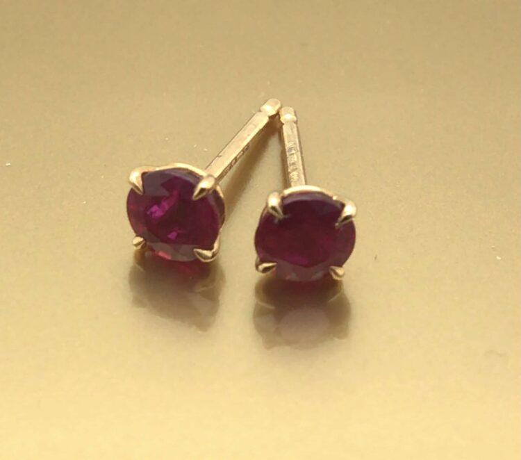 round ruby stud earrings