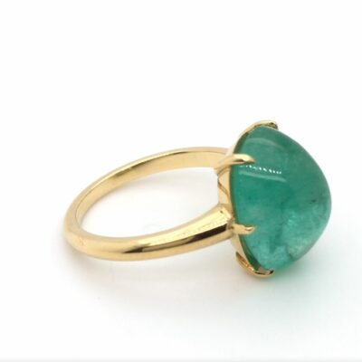 cabochon emerald claw set ring