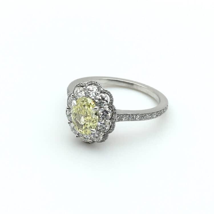yellow diamond and platinum daisy cluster ring