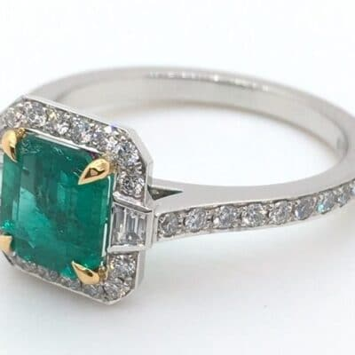 classic emerald art deco style ring