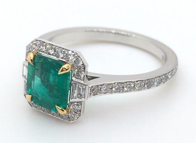 classic emerald art deco style ring