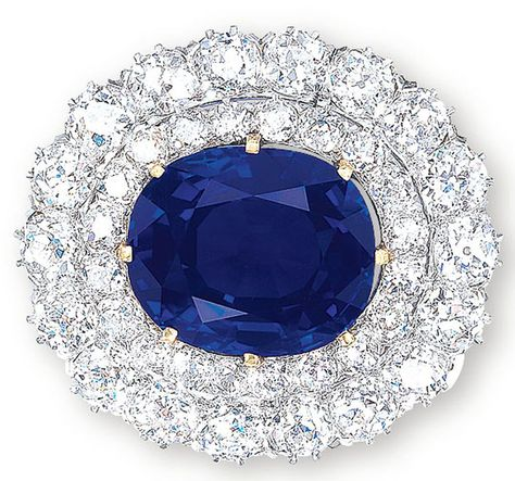 26.41-carat Kashmir Sapphire and Diamond Brooch