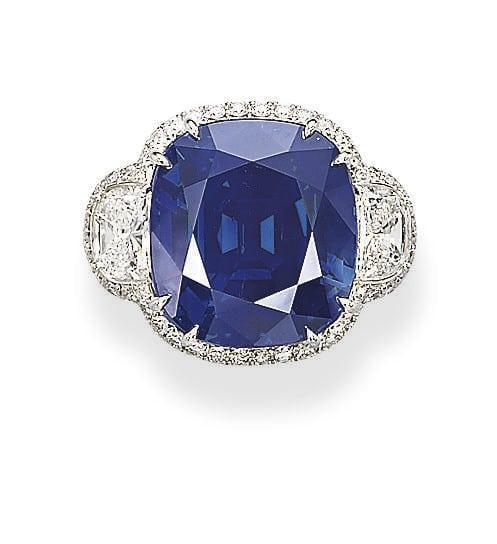 42.28-carat Kashmir Sapphire and Diamond Ring