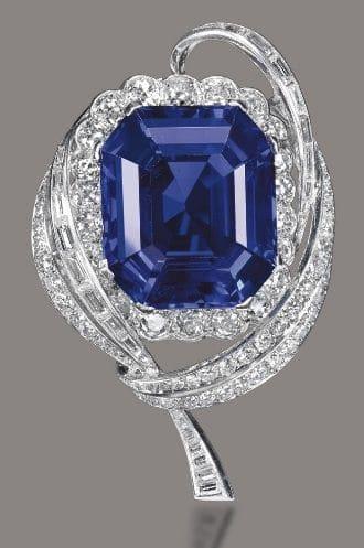 47.15-carat Burmese Sapphire and Diamond Brooch