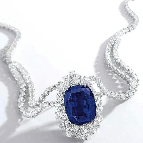 Impressive and Rare Sapphire and Diamond Necklace