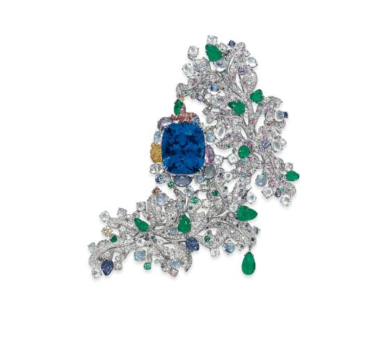 Sapphire and Multi-Gem Cote d Azur Brooch