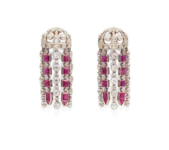 ruby and diamond chndelier earrings - credit Bonhams